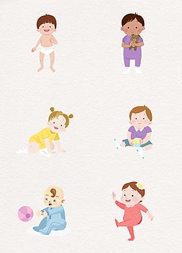 彩色手繪開心玩耍的嬰兒素材