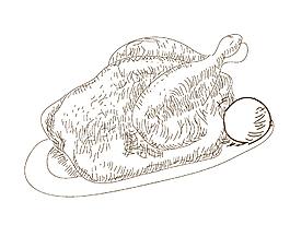 烤雞素描簡筆畫