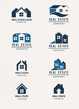扁平幾何創意房地產logo圖標圖片