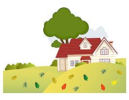 手绘卡通房屋草坪元素