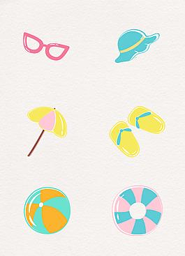 可爱沙滩插画设计元素