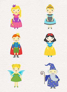 6款卡通扁平化童話角色白雪公主設計