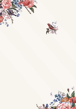 彩繪鮮花花枝喜鵲日系文藝范廣告背景素材