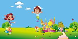 城堡卡通幼兒園招生背景素材