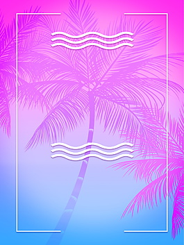渐变紫红蓝色树影边框夏季背景素材