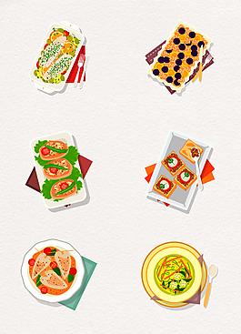6款彩色矢量手绘菜肴