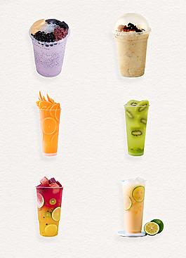 缤纷夏日奶茶水果茶系列冷饮素材