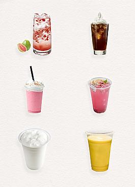 彩色夏日清涼奶茶png素材