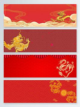 腾龙中国风四大神兽龙banner背景