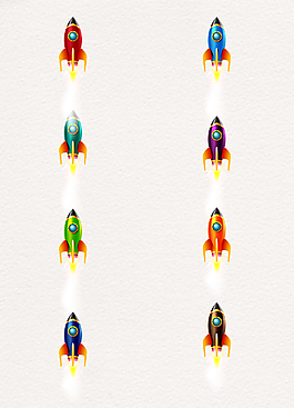 8款手绘质感火箭矢量设计素材