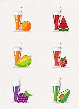 6杯手绘新鲜果汁和水果素材