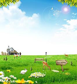 蓝天白云绿草地花朵清新背景