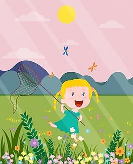 儿童户外游玩ai矢量素材下载