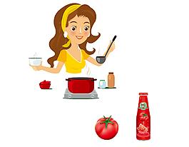 卡通媽媽用番茄醬做飯矢量元素