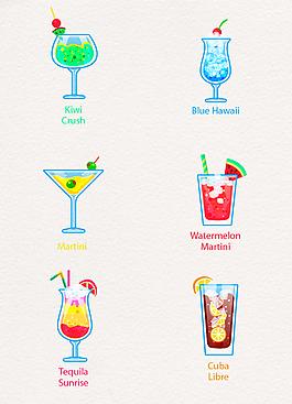 彩色卡通鸡尾酒菜单