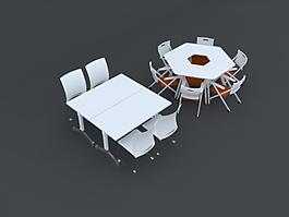 辦公桌椅3D模型素材組合