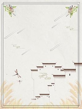 古典徽式建筑海报背景