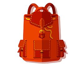 卡通橘色双背包矢量元素