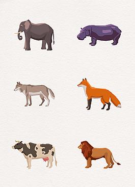 手繪矢量動物側面設計元素
