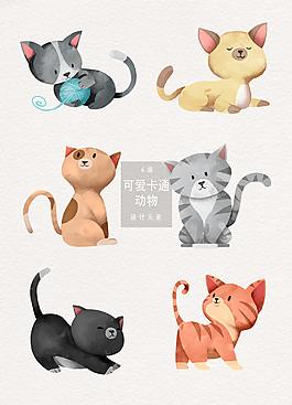 手繪可愛貓咪插畫