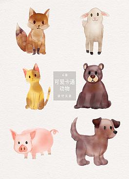 手绘卡通可爱动物AI素材