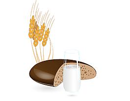 卡通面包大麦牛奶元素