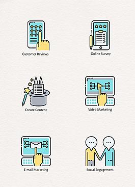 MBE可愛彩色數字營銷圖標icon