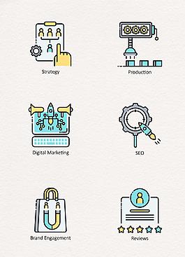 彩色扁平商業數字營銷icon素材