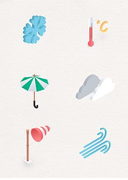 6款矢量自然天氣圖標素材