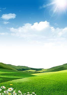 綠色山坡和草地背景