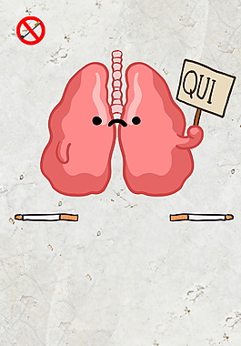可爱手绘粉色肺部广告背景