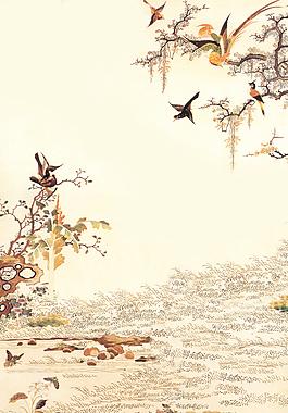 中國風山水花鳥古韻背景