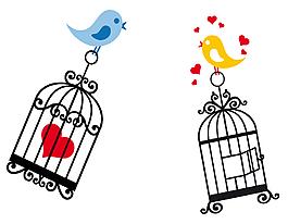 卡通创意站在笼子上的小鸟
