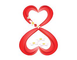 唯美红色心形元素