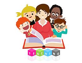 卡通兒童學習字母元素