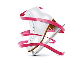 卡通飄帶女士滑冰鞋元素