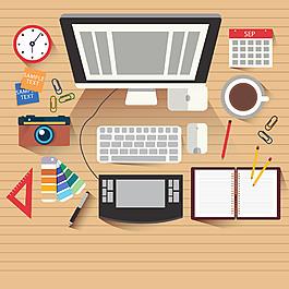手繪擺放整齊的書桌設計素材