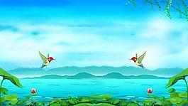 手繪卡通藍色夏天背景