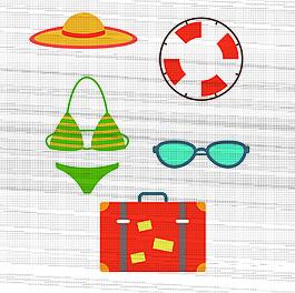 夏日海灘度假用品矢量素材