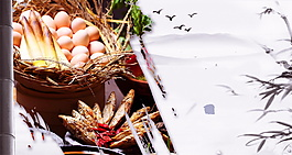 新鲜竹篮鸡蛋小鱼干广告背景