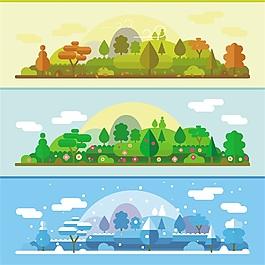 四季森林變化圖矢量素材