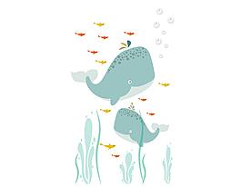 卡通海底的鯊魚矢量元素