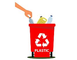 紅色可回收垃圾桶矢量元素