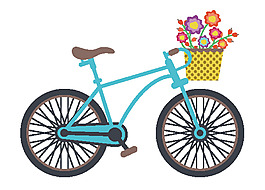 手绘单车与花矢量素材