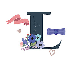 手繪字母花邊矢量素材