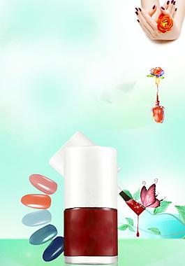 清新红色指甲油广告背景