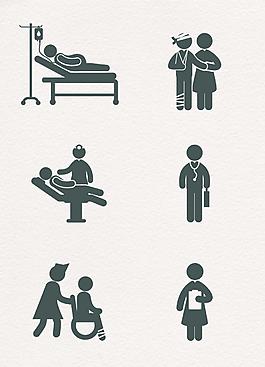 黑色簡約矢量醫患和醫生圖標