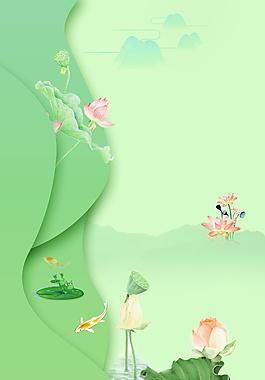清新夏季荷花廣告背景