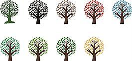 彩色点点树矢量素材