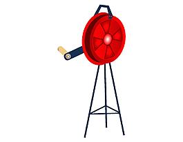 手搖消防管卷收器矢量圖